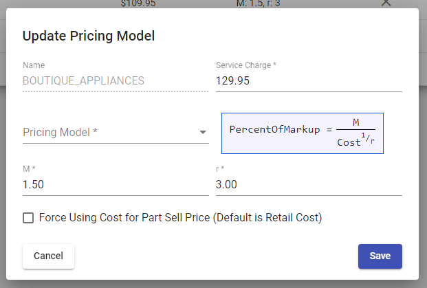 Pricing Model Detail
